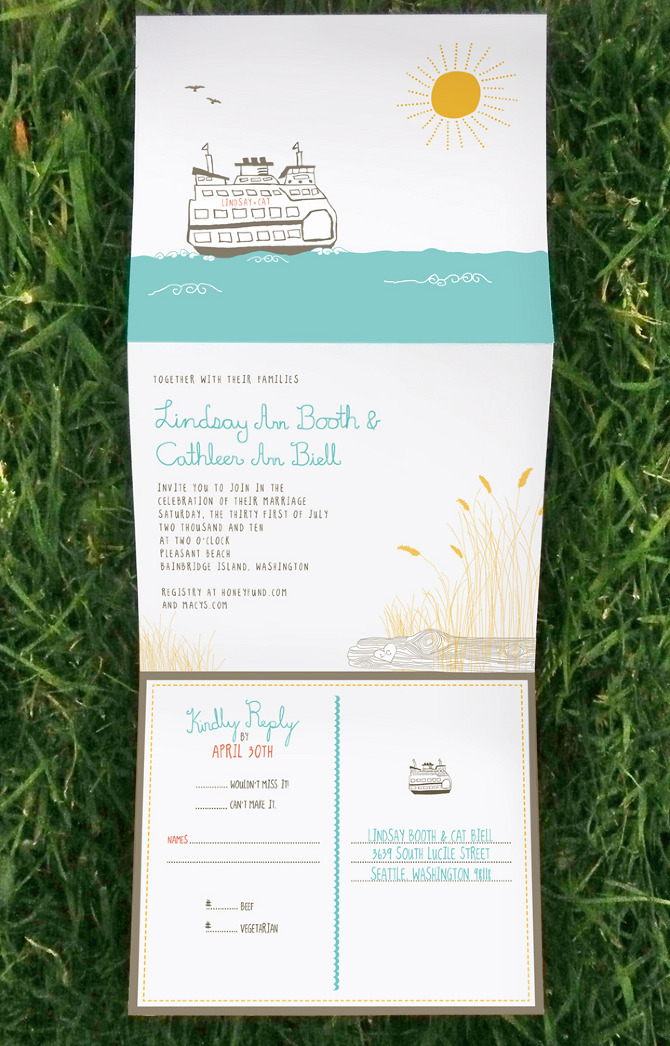 Beach Theme Wedding Invitation And Rsvp Tear Away Postcard By Cat
